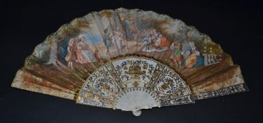 A Mid-18th Century Ivory Fan, the monture carved and silvered and gilded in classical style, with