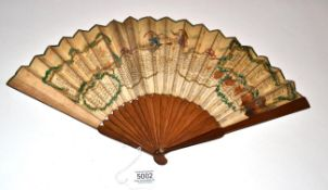 The Oracle, Book of Fate: A Circa 1800 Printed Fan, the monture of plain, darkly stained wood. The