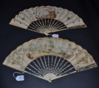 An Attractive Mid-18th Century Ivory Fan, the upper guards carved and pierced quite elaborately in a