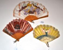 A 20th Century Fan in fontange form, the yellow gauze, mounted à l'Anglaise on celluloid sticks,