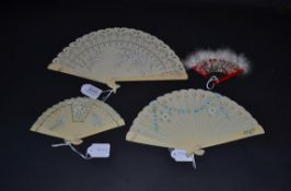 Three Small Celluloid Fans from the first quarter of the 20th century, suitable for dolls or young