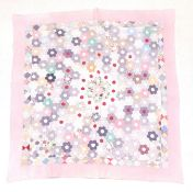 Late 19th Century Country Patchwork Quilt, with hexagonal coloured cotton flower head patches to the
