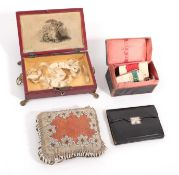 Late 19th Century Dark Red Leather Mounted Small Hinged Box and Cover, with brown stitched feather
