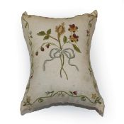 Early 19th Century White Linen Pin Cushion, embroidered to both sides in coloured silk threads, with