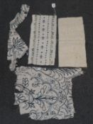 Three 18th Century Fabric Fragments, comprising a circa 1700 blue crewel work remnant possibly