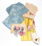 19th Century Silk Fabric Fragments, comprising a piece of bright yellow silk with ribbon work flower