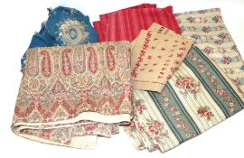 Assorted Mainly French Textiles, comprising Kashmir quilt with cotton reverse, 140cm by 135cm;