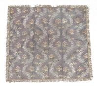 18th Century Silk Brocade Cover of floral woven design, with purple silk to the reverse and metallic