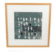 Circa 1960 Lucienne Day Fabric Sample 'Quatro' Pattern, framed, 53cm by 53cm