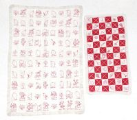 Early 20th Century Embroidered Cot Cover, worked in squares of cotton and embroidered in red with