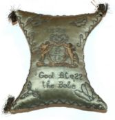 Early 19th Century Silk Pin Cushion Dated 1825, initialled BJE of 'waisted' shape with a pale blue
