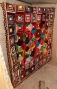 Late 19th Century Decorative Velvet Log Cabin Patchwork Bed Cover, with pom pom trims and a