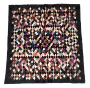 Victorian Silk Patchwork, comprising coloured silks in a diamond pattern, central pattern and