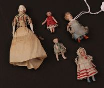 Late 19th/Early 20th Century Bisque Miniature Dolls House Figures, comprising a doll with moulded