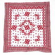 Late 19th Century Red and White Hexagonal Patchwork Quilt, within a red, black and white stripped