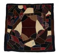 Victorian Crazy Patchwork, comprising silks and velvets with feather stitch embroidery depicting a