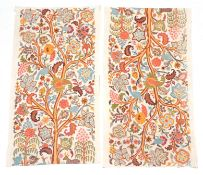 Pair of Crewelwork Panels/Curtains, depicting a central tree hung with large decorative leaves and