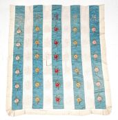 Late 19th Century Blue Silk Bed Cover, in strips of blue silk and filet lace, embroidered with