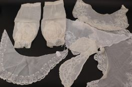 Pair of 19th Century White Cotton Muslin Engageantes with Ayrshire embroidery to the cuffs and lower