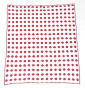 Late 19th Century Hexagonal Red and White Country Quilt, hand quilted with circles, leaves and