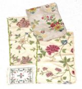 18th Century Silk Fabric Fragments, comprising a cream silk possibly pocket book cover (unfinished),