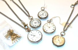 Two lady's silver fob watches silver open faced Thos Russle & Son pocket watches and two other ladys