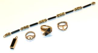 A 9 carat gold onyx and diamond ring, finger size G1/2, a 9 carat gold diamond ring, finger size F