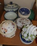 A large Willow pattern meat dish together with a part Copeland Spode dinner service with various