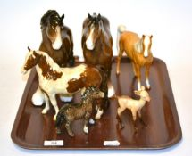 Beswick Horses comprising Appaloosa, Arab, two Shires, a Shetland Foal and a Fawn (6)