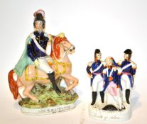 Two Staffordshire figure groups ''Louis Napoleon'' and ''Death of Nelson'', 33cm and 21cm high. .