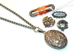 An agate brooch, length 6.4cm, a silver brooch, a circular brooch, stamped 'NORWAY STERLING 925S', a