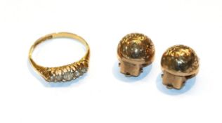 An 18 carat gold diamond five stone ring, finger size N1/2 and a pair of 9 carat gold earrings, with