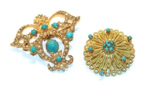 A 9 carat gold seed pearl and turquoise brooch, length 4.1cm and a circular blue glass brooch,