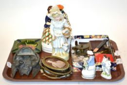 A quantity of assorted items including Moorcroft ashtray, four Staffordshire figures, a lead wall