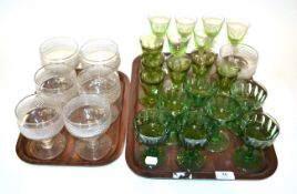 19th and 20th century glassware including seven goblets, green wine glasses and a set of wine