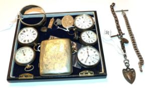A collection of five open faced pocket watches, two silver Albert chains, a silver bangle, a