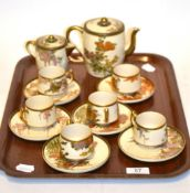 An early 20th century Japanese Satsuma part coffee set, coffee pot 12cm high . Minor wear overall