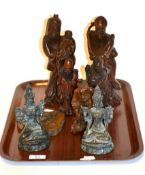 Five Chinese carved wooden figures together with two Tibetan bronzed figures and a plaque, tallest