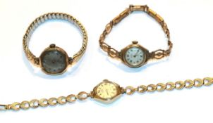 Three gold lady's wristwatches (one Kered and one Uno)