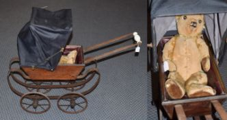 Early 20th century wooden dolls pram with hood and jointed teddy bear (2)