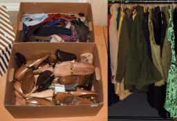 Assorted ladies and gents clothing including a Puffa coat, Barbour wax jacket, morning suit,