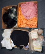 Assorted textiles and costume including circa 1950s bedcovers some with embroidery, paper dress
