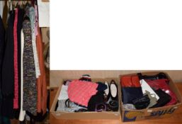 Assorted costume and accessories including a 1950s black wool cardigan with bead decoration, Laura
