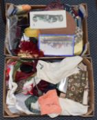 Assorted ladies and gents accessories, comprising circa 1950s cotton aprons, cosmetics, shoes,