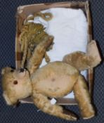 Yellow plush possibly Farnell teddy bear, 59cm; white linen bed cover with embroidered decoration,