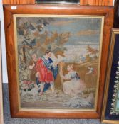 Large wool work picture by Mary Anne Tasker dated 1850, titled Boas and Ruth, New Jerusalem