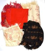 Late 19th century red wool shawl with paisley appliques, black wool shawl woven with floral garlands