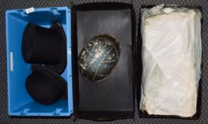 Locke & Co opera hat, a Bowler Hat, Polo cap, and a box of gents white dress shirts (two boxes)