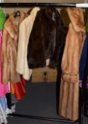 Full length mink coat, together with three further mink jackets