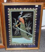 Modern decorative embroidered picture of a peacock on a velvet ground, worked in silk and gilt metal